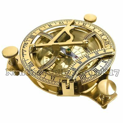 Solid Brass Compass Nautical Vintage Marine West London Working Sundial Compass