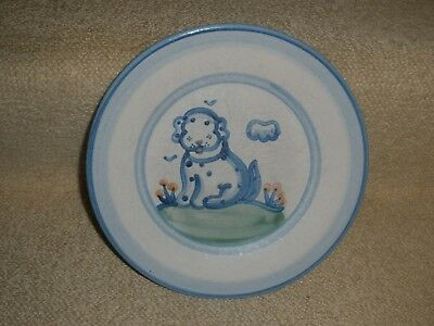 "Salad Plate M.A. Hadley DOG Hand Painted Pottery 8 7/8"" VTG signed Collectible"