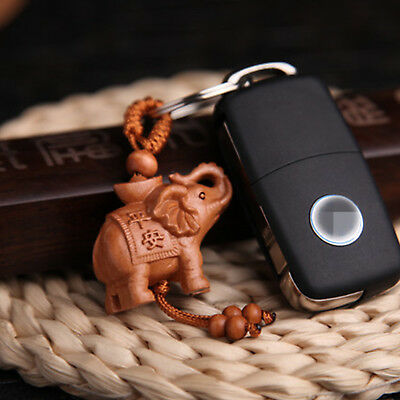 Elephant 3D Statue key chain keyrings Key Finder Amulet Chinese Rosewood Carving