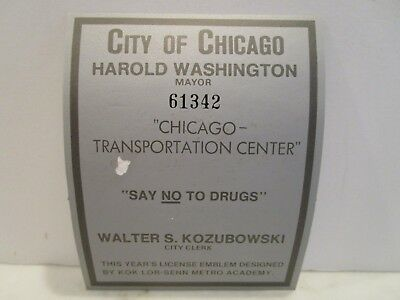 Chicago Mayor Harold Washington Mechanical Signature on Unused Vehicle Sticker