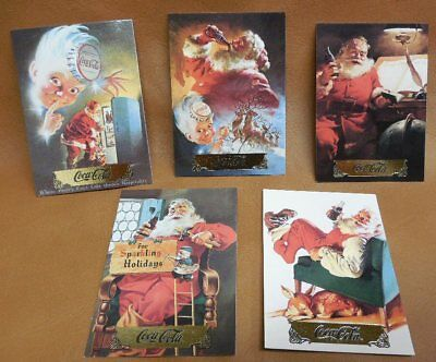 Lot of 5 Collectible Santa Cards First Series Coca Cola 1993 Collector 1 One
