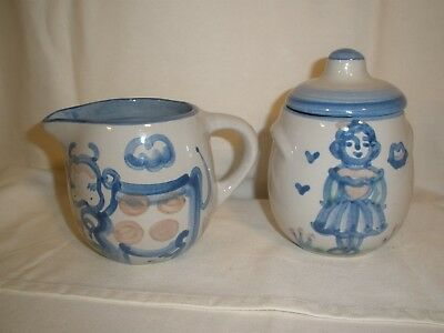Sugar Bowl Creamer Set M.A. Hadley Cow Girl Hand Painted VTG signed covered