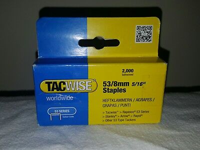 "Tacwise 53 Series 53/8mm Staples 5/16"" Galvanised Staples (Box of 2000)"