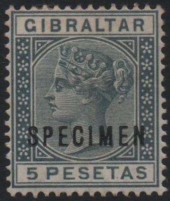 GIBRALTAR: 1889 Sg 33s 5p Slate-Grey Mounted Mint Example with Spec Ovpt (20300)