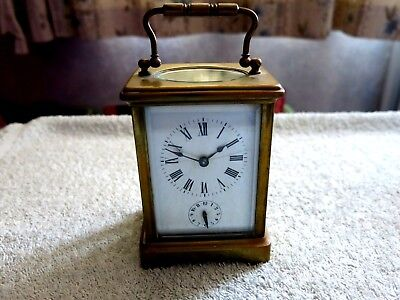 Vintage / Antique 5 Glass & Brass Carriage Clock With Alarm For Restoration
