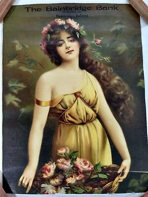 Bainbridge Bank Indiana Art Nouveau Advertising Woman Roses Antique