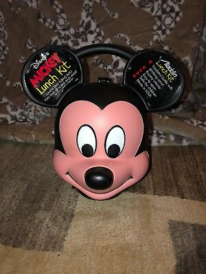 ALADDIN INDUSTRIES WALT DISNEY MICKEY MOUSE head lunch box / kit WITH thermos
