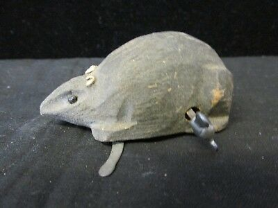 S38 Antique Wooden Wind Up Mouse Early Children's Toy  Works Fine