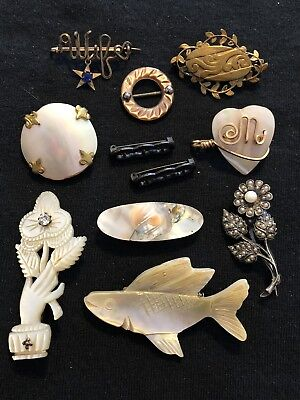 Lot Of Antique & Vintage Pins Brooches MOP Shell Genuine Pearls Wear Resale