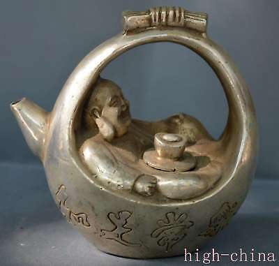 Collectable Miao Silver Carve Buddha Hold Wealthy Exorcism Handwork Old Tea Pot