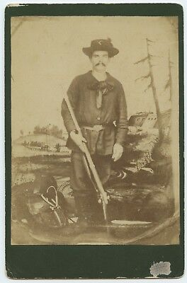 Cabinet Card of Civil War Tintype Union Infantry Backpack armed