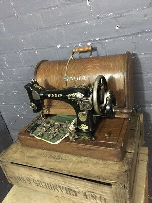 Vintage Cast Iron Singer Model 28k Sewing Machine in Case with Accessories, 1912