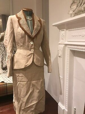 Vintage 1940s Suit Cream (6/8) Jacket And Skirt
