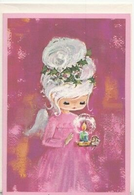 Unused Pretty Mod Angel Girl In Pink With Candle Vintage Christmas Greeting Card