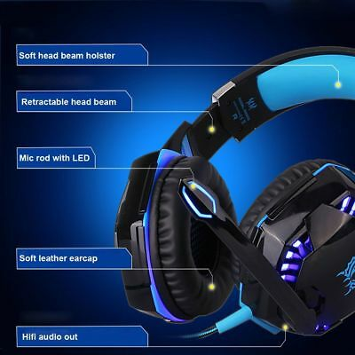Usb Wired Gaming Mouse Mice Over Ear Headphone Headset Earphone Mic Stereo Bass