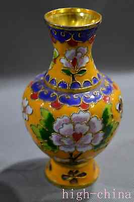 Collectable Cloisonne Paint Flower Room Decoration Ancient Old Chinese Art Vase