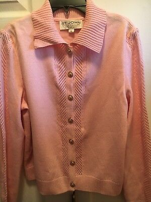 "ST. JOHN ""Collection""Marie Gray Santana Knit Pink Cardigan Sweater Size 6"