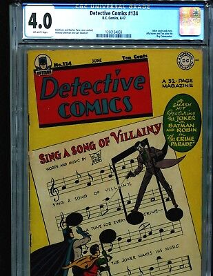 Detective Comics 124 CGC 4.0 OW pages CLASSIC JOKER Cover and Story 1947 Batman