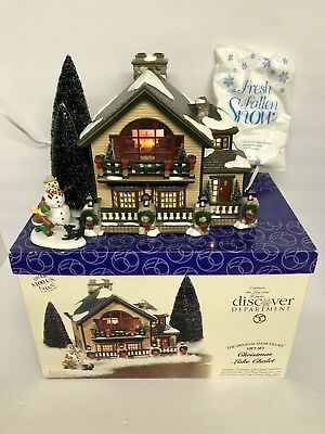 """Department 56 Snow Village """"Christmas Lake Chalet"""" Excellent Used Once"""