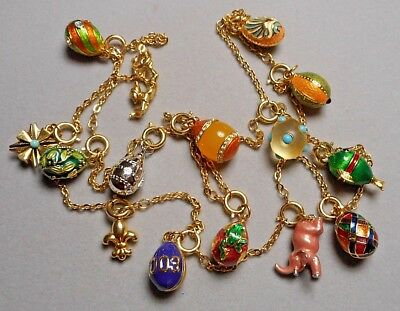 "Joan Rivers Imperial Russian Egg Necklace - 15 Jeweled & Enameled Charms 32"" - D"