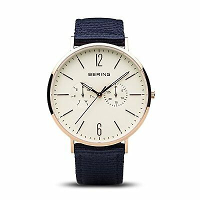 BERING Time 14240-564 Men's Classic Collection Watch with Blue Nylon Band, Rose