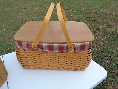 Longaberger  Craft Keeper Basket Combo  Orchard Plaid  Liner And Wood Lid