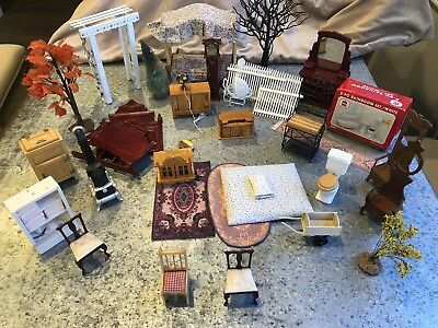Huge VIntage Dollhouse Furniture Lot Kitchen Baby Toys Trees Dolls Rugs 1:12