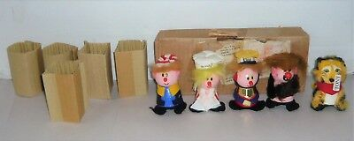 Vintage 1972 Kellogg's Cereal Box Wooden Figure Dolls In Shipping Box & Inserts