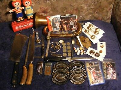 Junk drawer silver coins ww11 Nickles Zwilling knives marbles watches estate lot