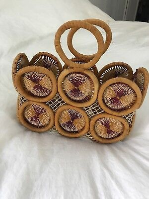 Unique Vintage Rattan and Straw Handbag