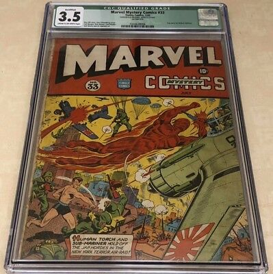 Marvel Mystery Comics #33 Schomburg Classic War Cover CGC 3.5 Missing Centerfold