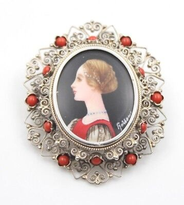 Antique Victorian Hand Painted Portrait Silver Pin Coral & Filigree-Nr (560B-2)