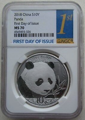 NGC MS70 First Day of Issue China 2018 Panda Silver Coin 30g 10 Yuan White Spot