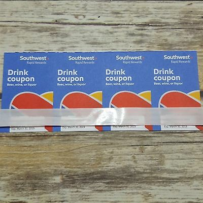 4 Southwest Airlines Drink Coupons Exp. 12/31/18