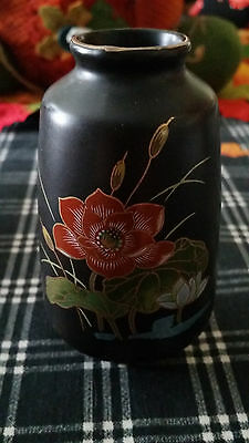 Vintage OMC Small Black Vase with Detailed Lovey Floral Design