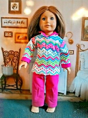 Pajamas fits American Girl Dolls 18 inch Doll Clothes Chevron Hearts
