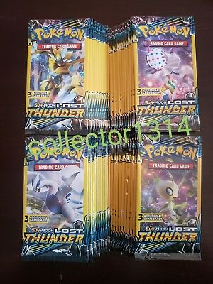 LOT OF (100) PACKS!☆ POKEMON SUN&MOON LOST THUNDER ☆3 Card  Booster Packs