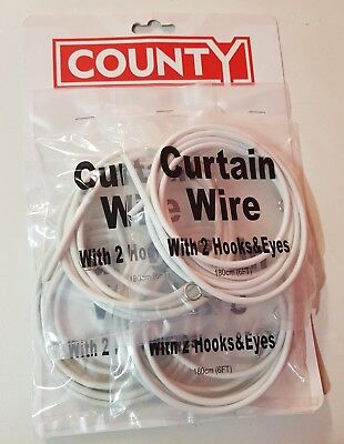 White Net Curtain Expanding Wire Supplied With Hooks And Eyes 1.8M (6 Ft) 1 Pack