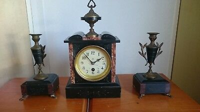 Antique French Marble Clock with Garnitures