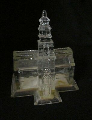unusual EAPG type glass candy container coin bank in shape of Independence Hall