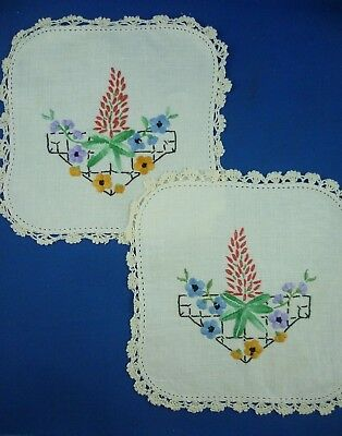 Pair Hand Embroidered Pretty Floral  Small Doileys With Cream Crocheted Edge