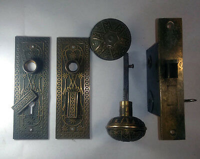 Antique Victorian Brass Door Lock Set Decorative Eastlake w Key Norwalk Lock Co.