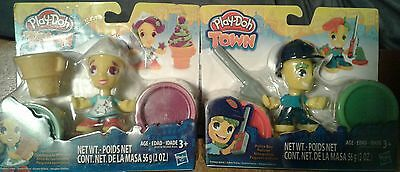Lot of two Play-Doh Town Ice cream girl and police boy...Brand new sealed