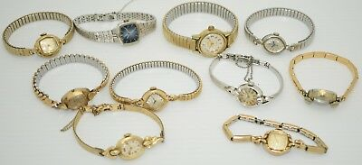 LOT OF 10 Vintage MECHANICAL Women's Watches: WITTNAUER ELGIN SEIKO & MORE!