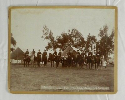 Vintage Civil War Soldier Group Photo Antique Military Mounted on Horses