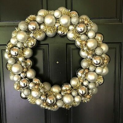 """22"""" Sparkly Shatter Resistant Ornament Wreath  Silver With Touches Of Gold"""