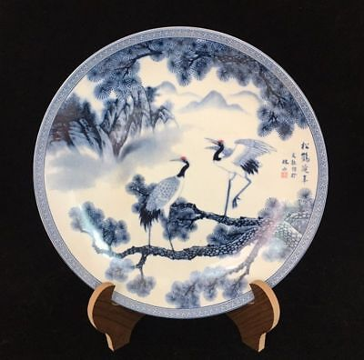 China Old Blue And White Porcelain Hand Painted Pine Crane Porcelain Plate
