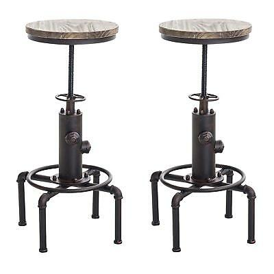 Industrial Bar Stool Antique Swivel Chairs Counter Height Adjustable Set Of  2