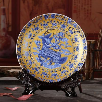 Fantastic Chinese Style Porcelain Gold Plate Unicorn Mythical Animals Collection