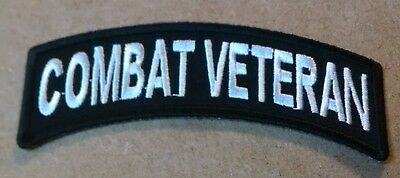 Combat Veteran Mini Rocker Embroidered Biker Patch